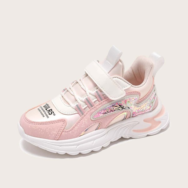 Girls Colorblock Velcro Strap Sneakers, Baby pink