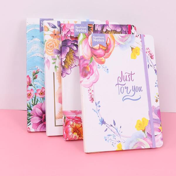 1pc Flower Print Cover Random Notebook, Multicolor