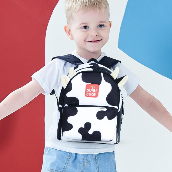 Kids Cow Cartoon Design Backpack, Black and white