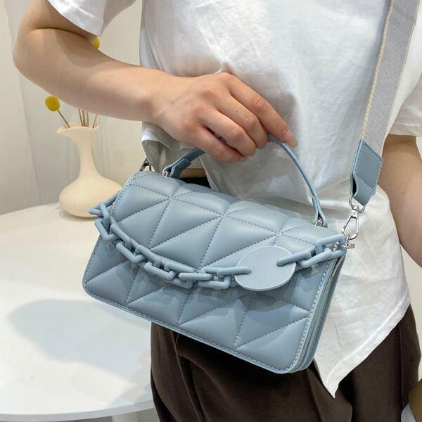 Minimalist Textured Chain Flap Square Bag, Blue