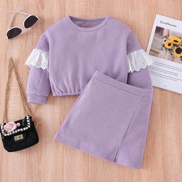 Toddler Girls Eyelet Embroidery Ruffle Trim Sweatshirt & Split Hem Skirt, Lilac purple