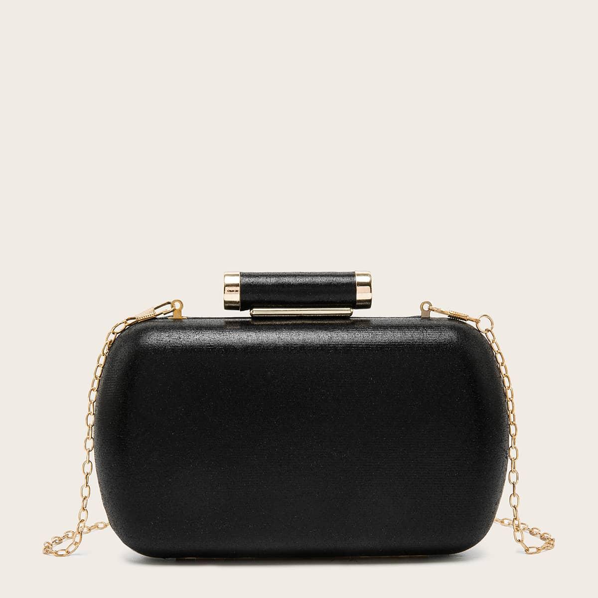 Metallic Detail Chain Box Bag