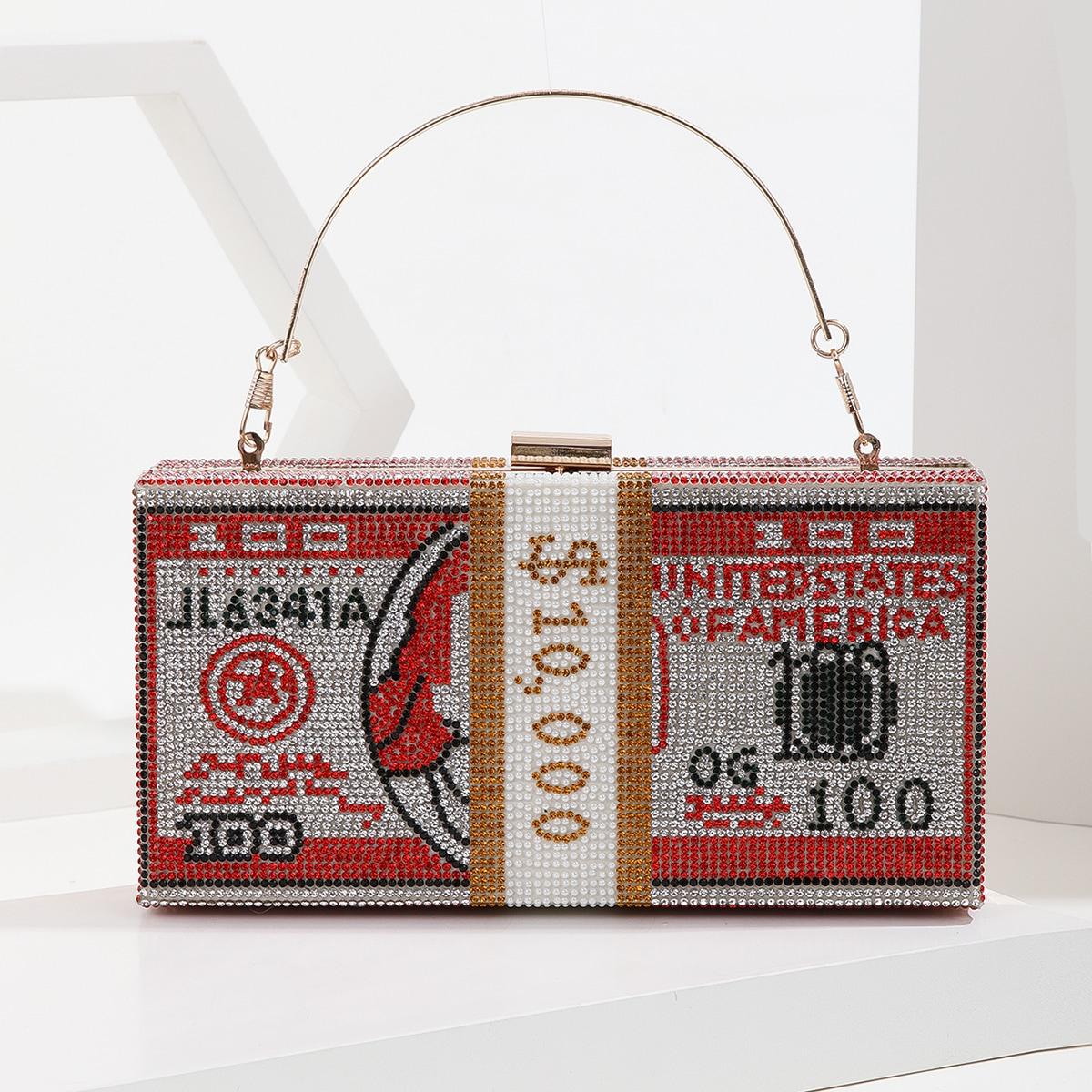 Сумка-бокс со стразами узором долларов цепочка