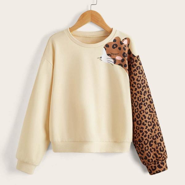 Girls Leopard Print Drop Shoulder Pullover, Apricot