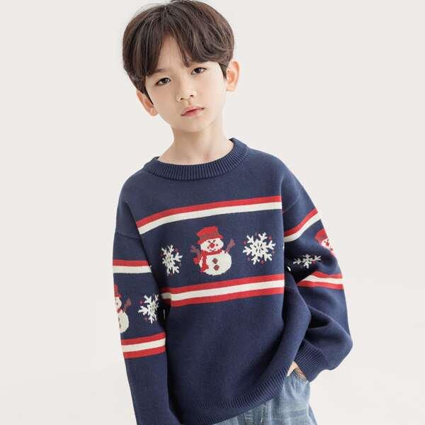 Boys 1pc Christmas Pattern Sweater, Navy blue