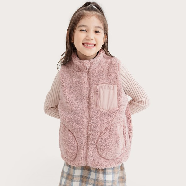 Girls 1pc Solid Funnel Neck Zip Up Teddy Jacket, Pink
