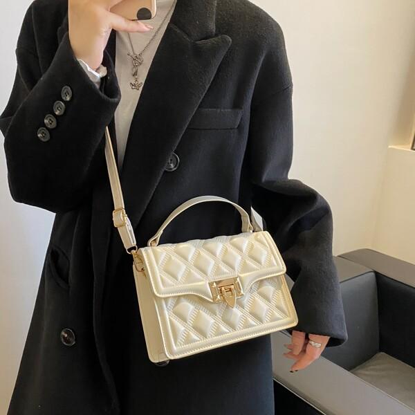 Minimalist Textured Flap Square Bag, Beige