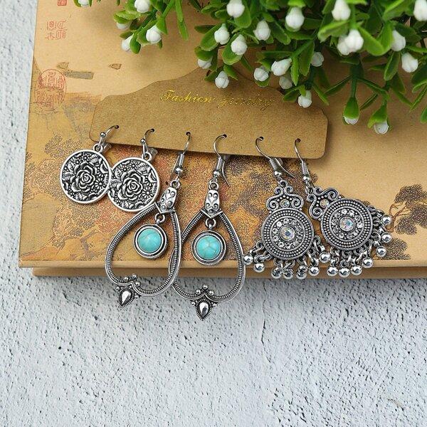 3pairs Vintage Drop Earrings, Antique silver