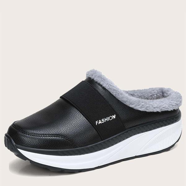 Fuzzy Letter Graphic Flatform Slipper Sneakers, Black