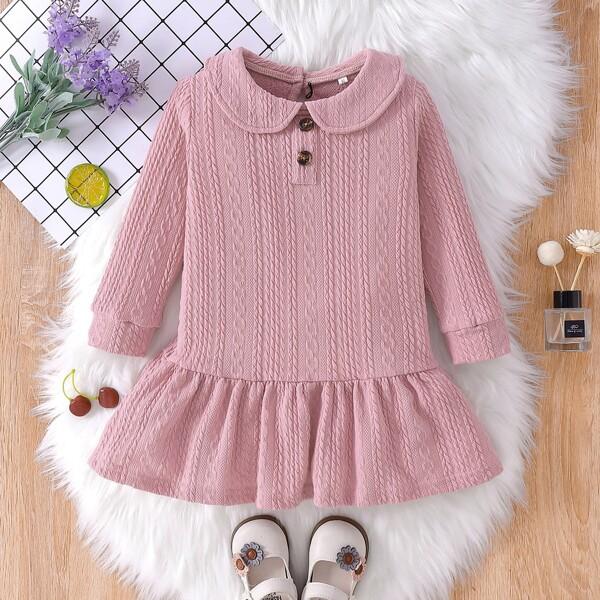Toddler Girls Peter Pan Collar Ruffle Hem Dress, Dusty pink