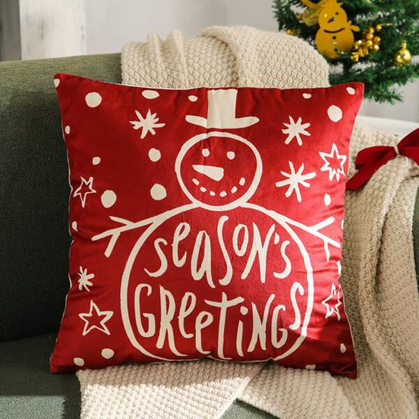 Christmas Snowman Print Cushion Cover Without Filler, Red and white