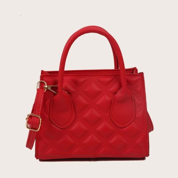 Minimalist Embossed Square Bag, Red