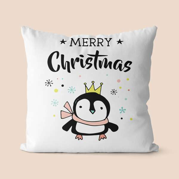 Christmas Penguin Print Cushion Cover Without Filler, Multicolor