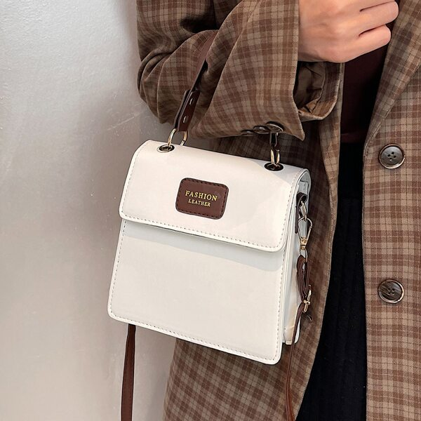 Letter Patch Flap Square Bag, White