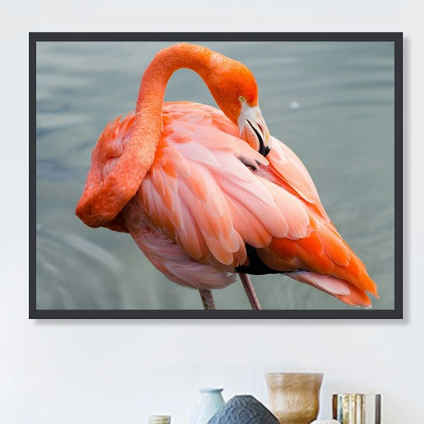 Flamingo Pattern DIY Diamond Painting Without Frame, Multicolor