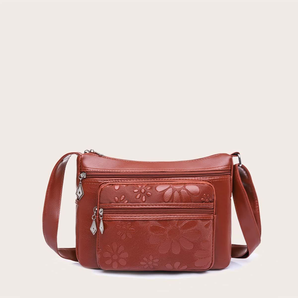 Квадратная сумка с цветочным принтом с карманом