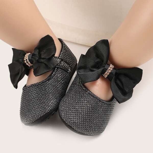 Baby Metallic Bow Decor Mary Jane Flats, Black