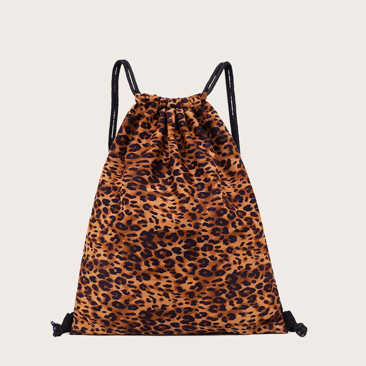 Рюкзак на шнурке с леопардовым узором