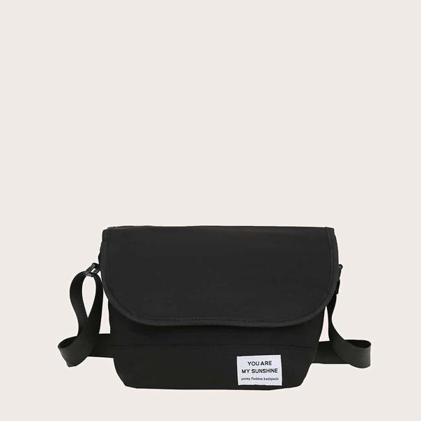 Men Letter Graphic Flap Crossbody Bag, Black