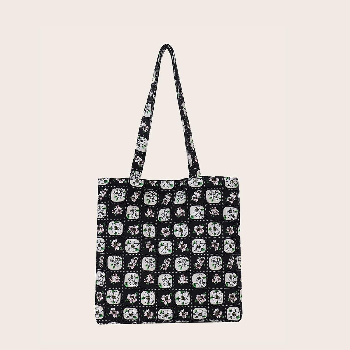 Allover Floral Graphic Shopper Bag