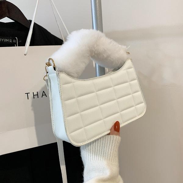 Minimalist Embossed Fluffy Handle Satchel Bag, White