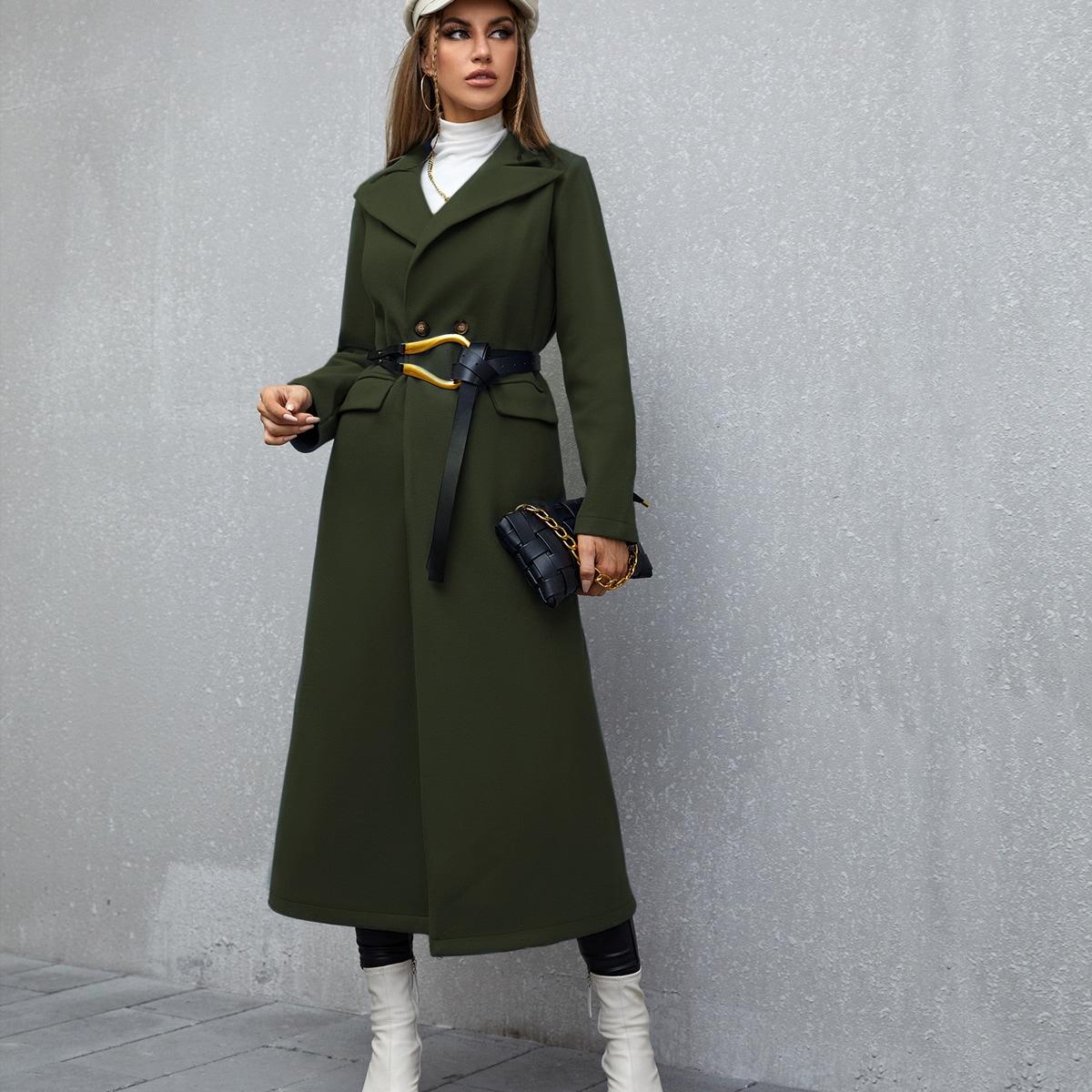 Пальто с лацканами без пояса