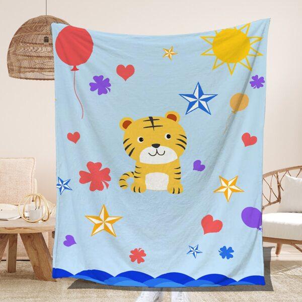 Cartoon Tiger Pattern Blanket, Multicolor