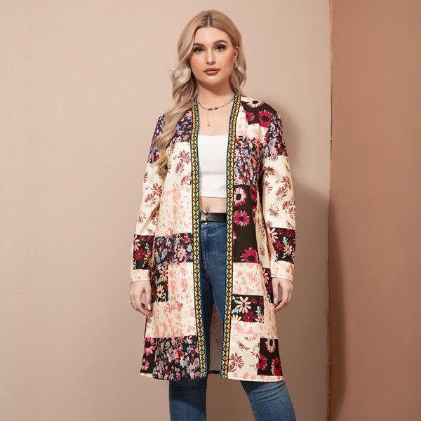 Plus Floral Print Geo Tape Trim Open Front Coat, Multicolor
