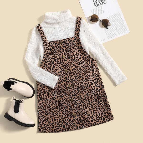 Girls Turtleneck Sweater & Leopard Dual Pocket Corduroy Pinafore Dress, Multicolor