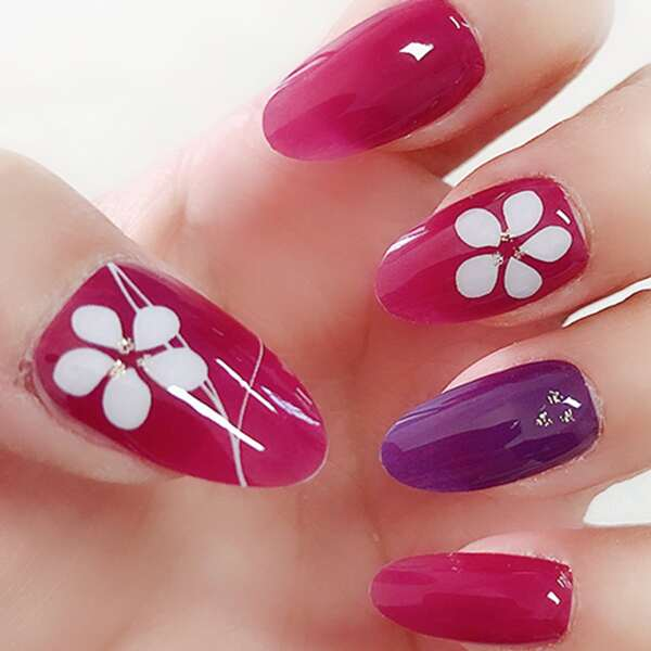 1sheet Flower Pattern Nail Art Sticker & 1pc Nail File, Multicolor