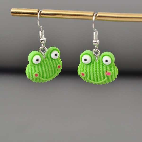 Girls Frog Decor Drop Earrings, Green