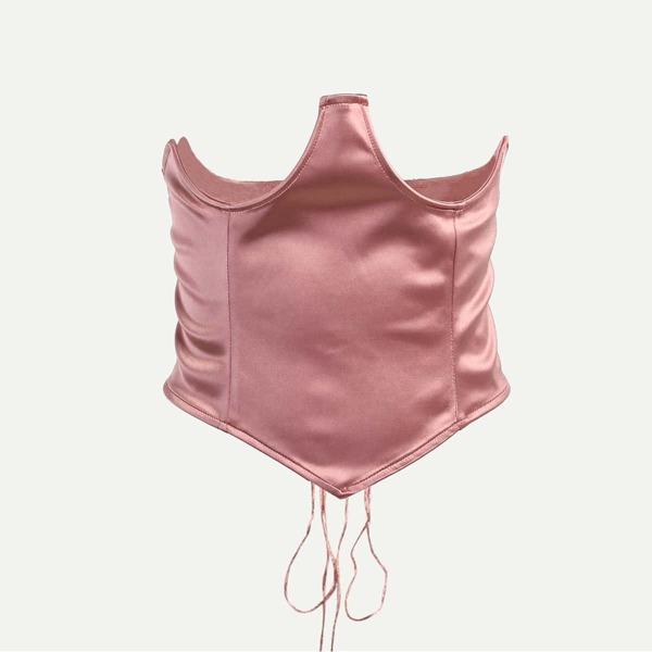 Lace-up Corset Belt, Dusty pink