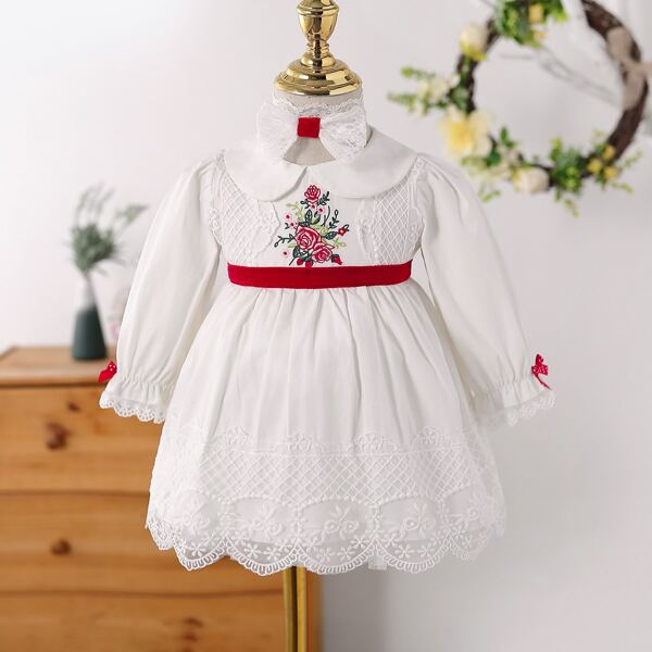 Baby Peter Pan Collar Floral Embroidery Flounce Sleeve Dress & Headband, White
