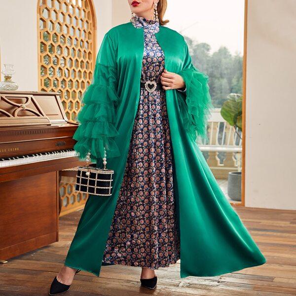 Plus Mesh Layered Sleeve Abaya, Dark green