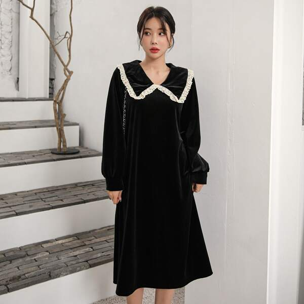 Guipure Lace Trim Statement Collar Bishop Sleeve Velvet Dress, Black