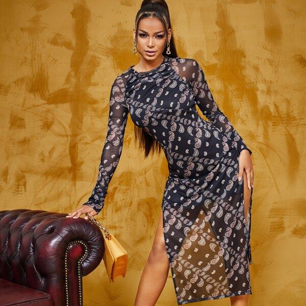 Paisley Print Split Thigh Mesh Dress Without Belt, Black