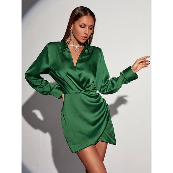 Ruched Bishop Sleeve Satin Dress, Green