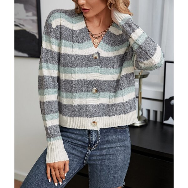 Cut And Sew Cable Knit Cardigan, Multicolor
