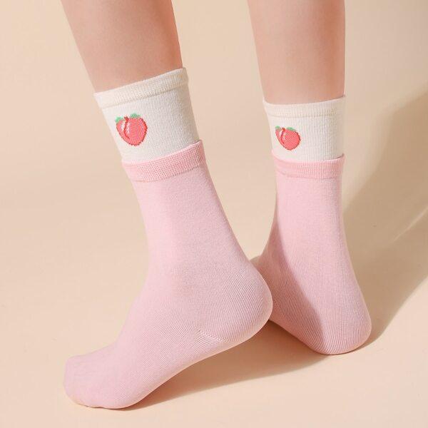 Peach Print Crew Socks, Multicolor