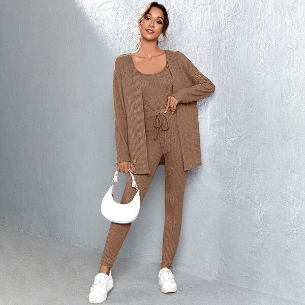Waffle Knit Cami Top & Tie Front Skinny Pants & Drop Shoulder Coat, Mocha brown