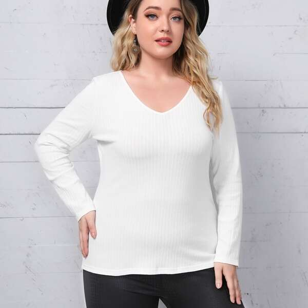 Plus Rib-knit Fitted Tee, White