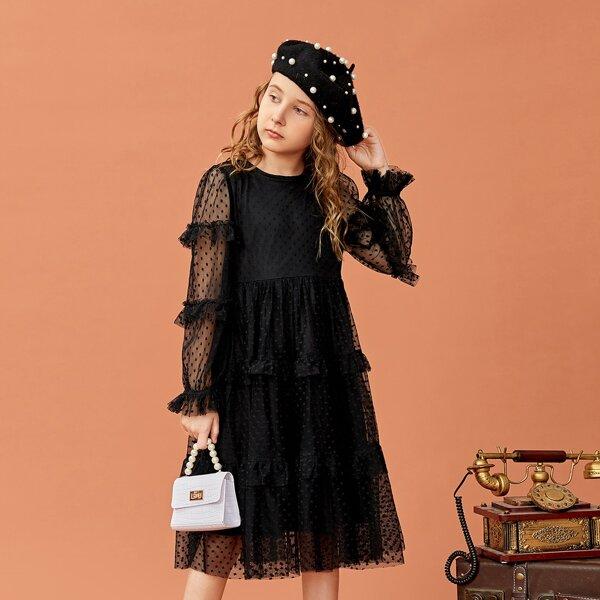 Girls Swiss Dot Mesh Insert Frilled Flounce Sleeve Ruffle Hem Dress, Black