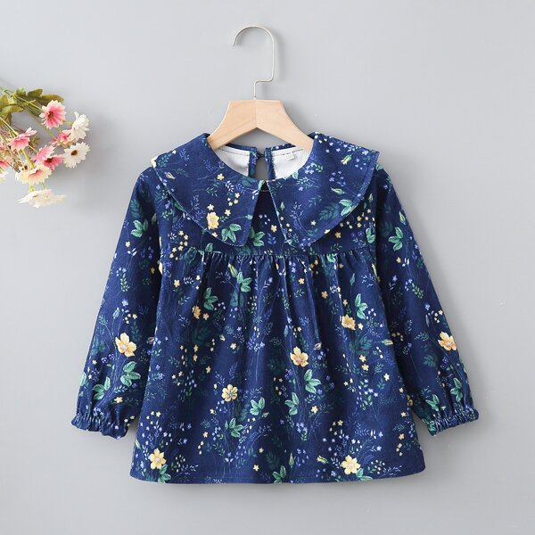 Toddler Girls Floral And Plants Print Peter Pan Collar Blouse, Blue