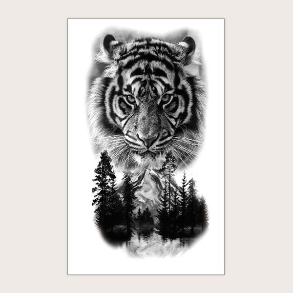 1sheet Tiger Pattern Tattoo Sticker, Black