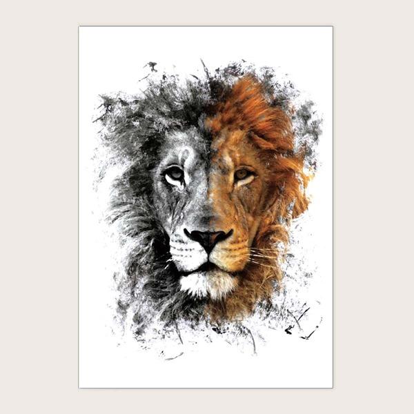 1sheet Lion Pattern Tattoo Sticker, Multicolor