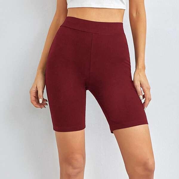 Solid Biker Shorts, Burgundy