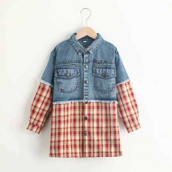 Girls Plaid 2In 1 Flap Pocket Button Up Raw Hem Coat, Multicolor