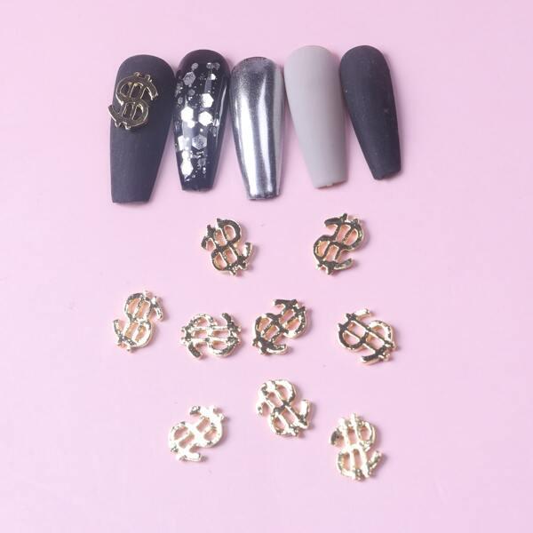 10pcs Dollar Shaped Nail Art Decoration, Gold