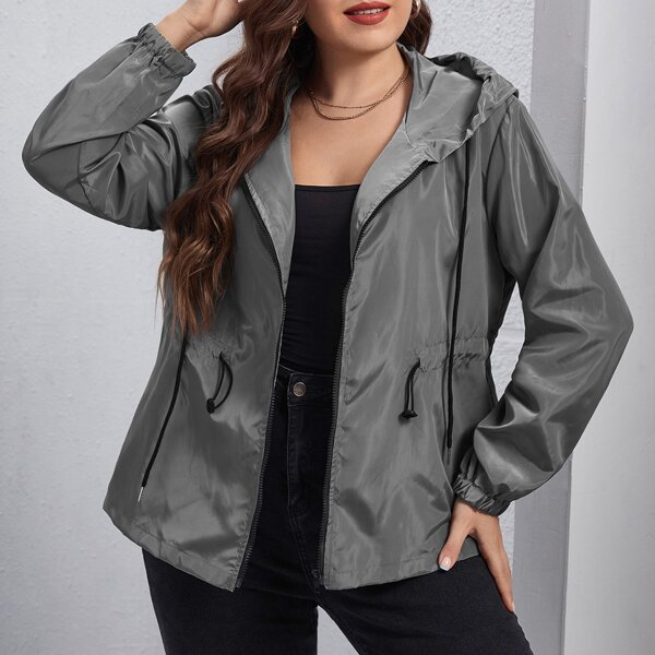 Plus Drawstring Waist Hooded Windbreaker Jacket, Grey