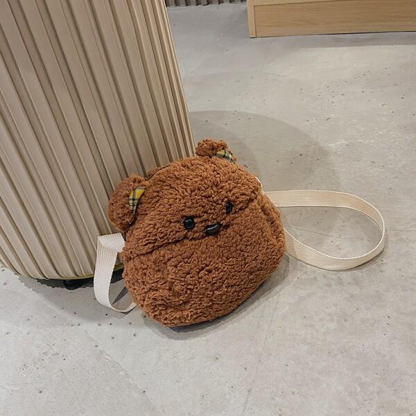 Girls Bear Design Fluffy Novelty Bag, Brown